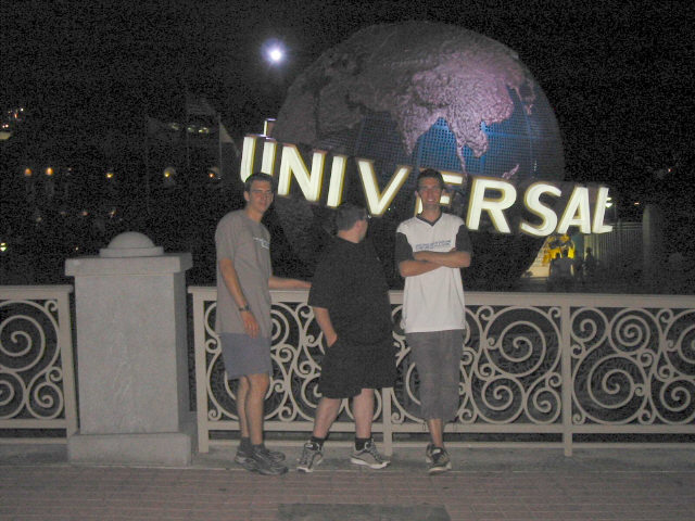 Outside Universal Studios at night