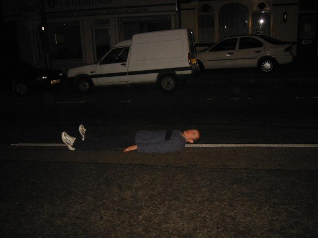 Reuben lies in the road