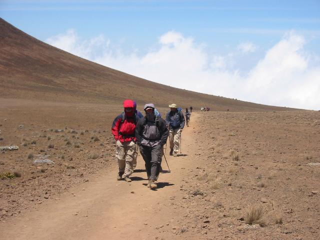 The group walking to Kibo