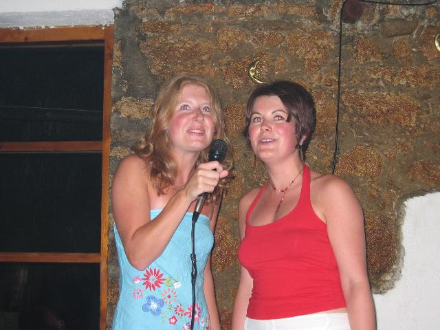 Sues and Helen doing Karaoke