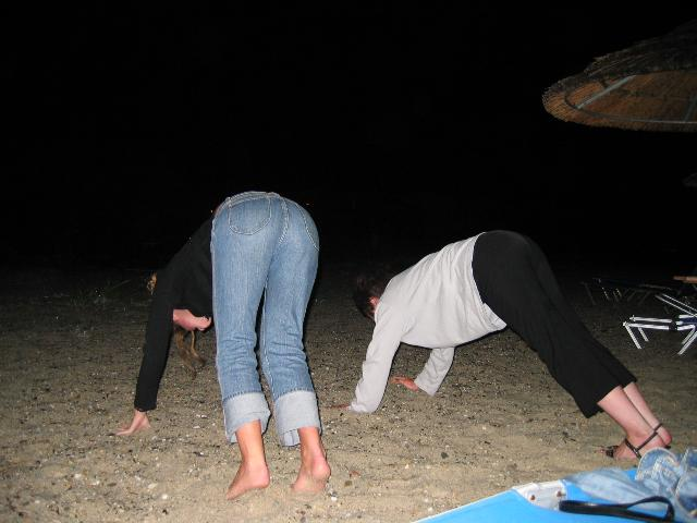 Sues and Helen doing Yoga